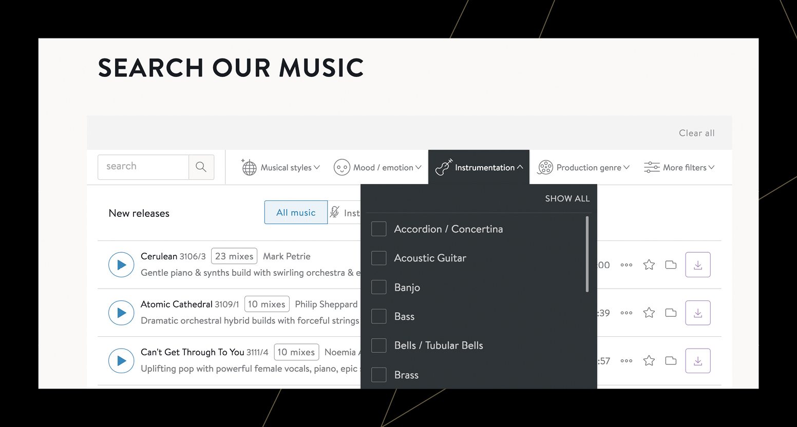 Audio Network music search functionality - search by mood or instrumentation