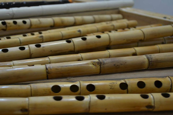 A collection of shakuhachi flutes